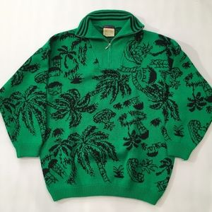 Vintage Esprit Sport Green Palm Tree Sweater